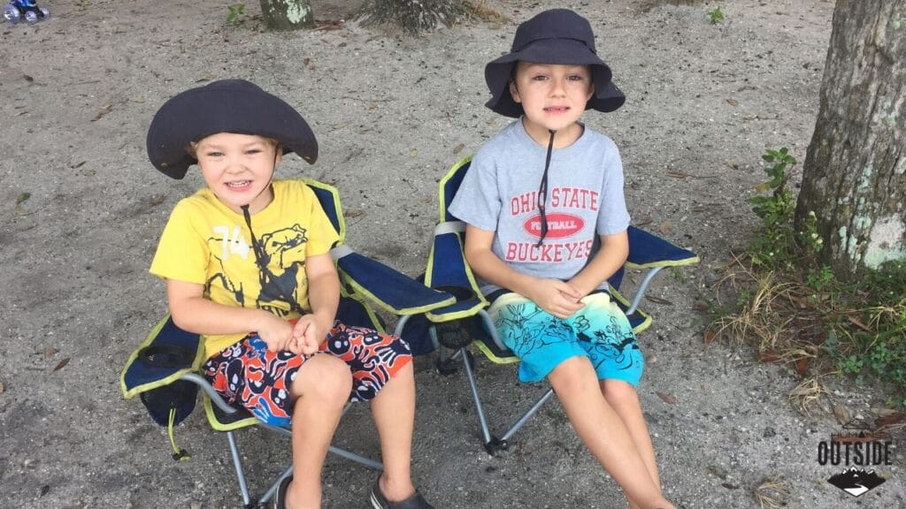 Boys wearing adventure hats