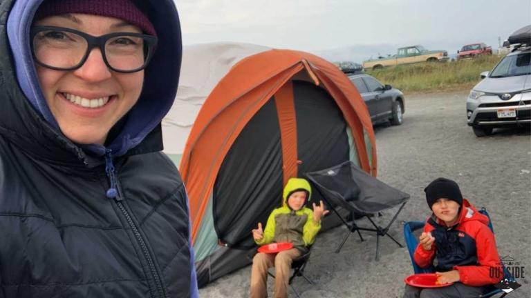 People camp on the Homer Spit in Homer, Alaska.