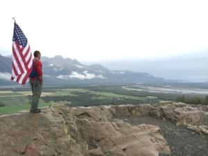 Flag on top of the Butte, Alaska