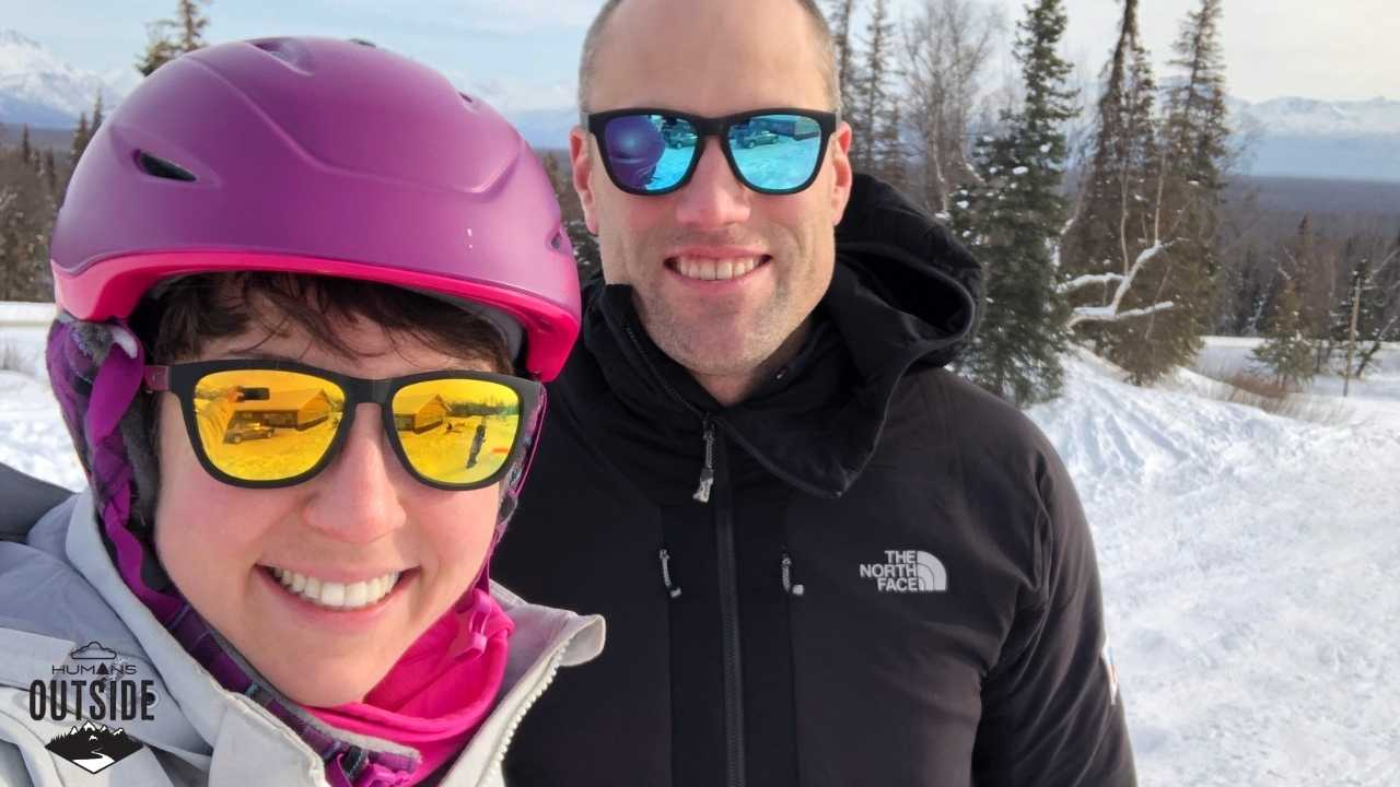 Goodr sunglasses while skiing