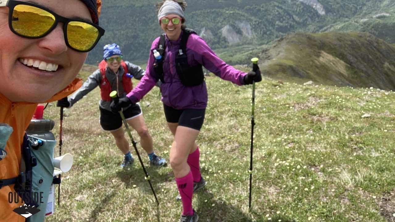 Trekking poles on Gold Star Peak
