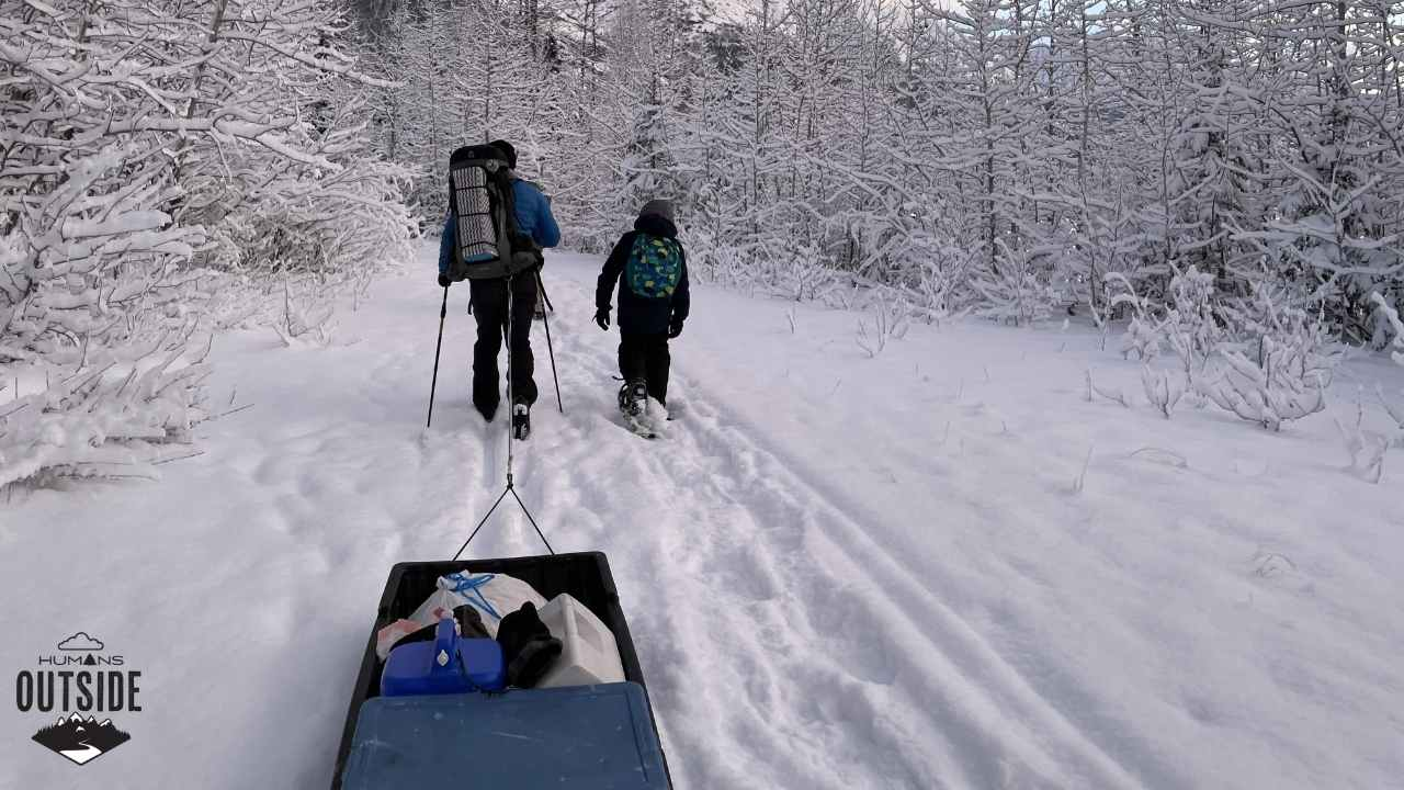 Skiing away from the Alaska Public Use Cabin at Eklutna Lake