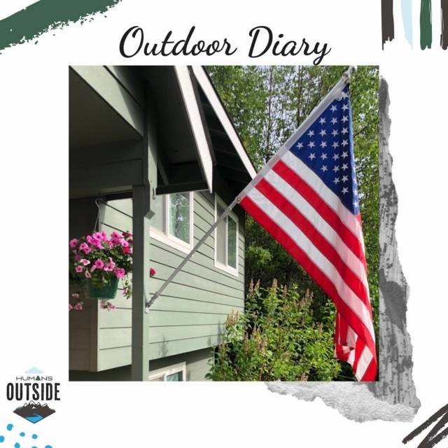 Outdoor Diary: Let Justice Be Your Outdoor Inspiration. ‍ As we confront racial injustice in our world, Amy reflects in this week's outdoor diary on both her privilege and those providing inspiration as they fight  injustice. ‍ Click on link in bio to listen to the podcast (you can find Humans Outside on @Itunes, Google Podcasts, @Stitcher, or whether you get your podcasts). We encourage you to head over to @wecoloroutside @theconsciouskid @camping_in_color @blackoutdooradventurers  #humansoutside365 #standup  #outdoordiary #humansoutside #outside365 #trailrun #alaskalife #hiking #outdoors #podcast #itunes #googlepodcasts #flag #letthestonescryout